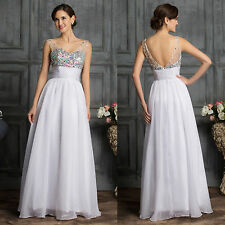 FAIRY BLUE WHITE LONG Evening Formal Party Cocktail Dress Prom Wedding Gown 2015
