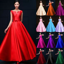 1 Formal Wedding Bridesmaid Satin Party Cocktail Prom Gown Evening Long Dress