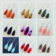 Beautiful Natural Gemstone Teardrop Pendant Necklace & Earrings