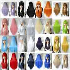 80cm Long Straight Cosplay Hair Fashion Wig Multicolor heat resistant Full Wigs