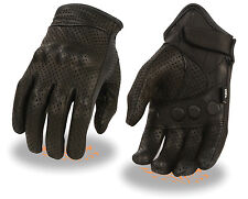 Mens Black Perforated Leather Driving Gloves w Gel Palm