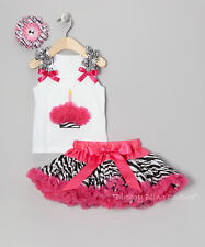 Girls Birthday Hot Pink & Zebra 1 Candle Cupcake 3-Piece Pettiskirt Set