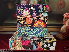 NWT Vera Bradley hand-painted glass Ornament Trio in Ribbons and more 12026