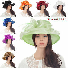 Women's Gorgeous Wide Brim Organza Kentucky Derby Hat Party Church Dress Sun Cap