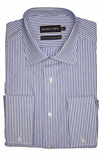 Men's Double Two Blue/White Stripe Long Sleeve Shirt - Double Cuff - 100% Cotton