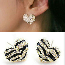 U Pick Lady Girls Crystal Rhinestone Zebra Stripe Love Heart Stud Earrings