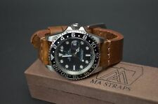 MA WATCH STRAP 22 MM CALF LEATHER VINTAGE HANDMADE UNIVERSAL OIL BROWN I