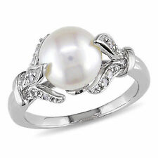 Sterling Silver Freshwater Pearl and 1/10 Ct TDW Diamond Cocktail Ring H-I I2-I3
