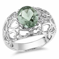 Amour Sterling Silver Oval Green Amethyst and Diamond Accent Cocktail Ring