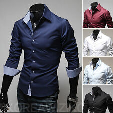 Hot Fashion Mens Luxury Long Sleeve Casual Slim Fit Stylish Dress Shirts Top