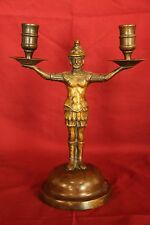 C 18th Century Bronze Roman Soldier Double Candlestick Holder  Rare Circa 1700's
