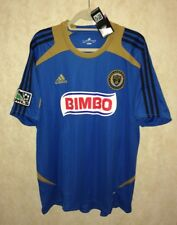 NEW Mens XL ADIDAS MLS Philadelphia Union Replica Blue Khaki S/S Soccer Jersey