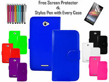 Premium PU Leather Wallet Flip Case Cover Cash Card Holder For Sony Xperia E4 UK