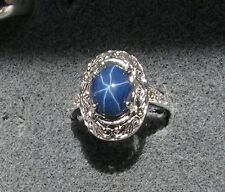 10x8mm 3+ CT LINDE LINDY CORNFLOWER BLUE STAR SAPPHIRE CREATED SECOND RING SS