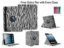 360° Rotating Zebra Printed Leather Folio Case Cover For Apple iPad 2 3 & 4 UK