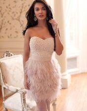 Lipsy VIP @ASOS Strapless Feather Beaded Bust Prom Party Dress Dusty Pink £175
