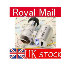 Mini 60X Microscope Loupe LED Magnifier + Currency Detecting UV currency Z34