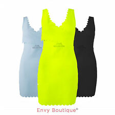 Ladies Womens Scallop Cut Out Detail Celeb Bodycon Summer Dress Top Sizes 8-14