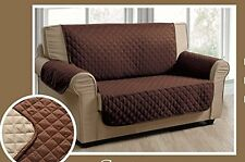 QUILTED MICROFIBER PET DOG COUCH SOFA FURNITURE PROTECTOR COVER CHOCOLATE/TUAPE