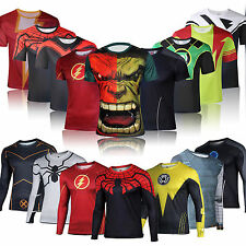 Marvel Superhero Men's Compression T-shirt Casual Shirts Jersey Cycling Sports