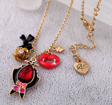 Free shipping Betsey Johnson Personality of the vampire bat lips necklace N015