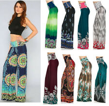 Womens Printed Palazzo Pants Wide Leg High Waist Stretch Boho Yoga Pants S M L