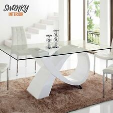 Modern Wood 5PC Contemporary Glass Top Leather Chair Table White Dining Room Set