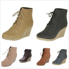 Brand New Women's Fashion Lace Up High Heel Platform Wedge Ankle Booties Shoes