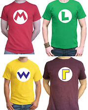 MARIO Bros T-Shirt Red / Green / Yellow / Purple Gaming Retro Super Brothers