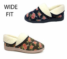 Womens Ladies Dunlop Wide Fit Floral Faux Fur Comfort Slippers Booties Size 3-8