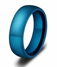 6mm Stainless Steel Ring SZ 6-11 Blue Domed Band Fashion Jewelry
