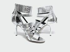 NEW MSRP $165 - MICHAEL KORS SHILOH Open Toe Sandal Stiletto Heels, Silver    *