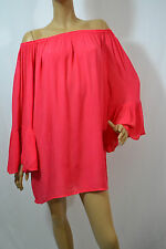*ON SALE* ONE SIZE LINDA INDIAN TROPICAL RUFFLE OFF SHOULDER TUNIC- CORAL
