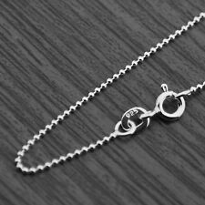 "Solid 925 Sterling Silver 1mm Bead Ball Round Chain Necklace 16"" 18"" 20"" 22"""