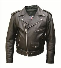 Allstate Leather - Mens Basic Black Motorcycle Cowhide leather jacket NWT