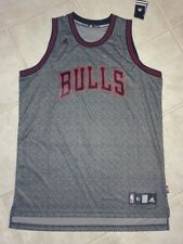 NEW Mens XL ADIDAS Chicago Bulls Grey Black Static Swingman Basketball Jersey