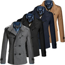 Mens Slim Fit Long Trench Coat Male Man Double Breasted Peacoat Jacket Blazers