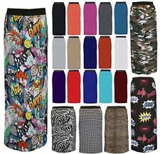 WOMENS PLUS SIZE LADIES PRINTED JERSEY LONG STRETCH GYPSY MAXI SKIRT DRESS 16-26