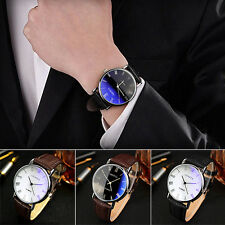 Men's Novelty Blu-Ray Roman Numeral Faux Leather Strap Quartz Analog Wrist Watch