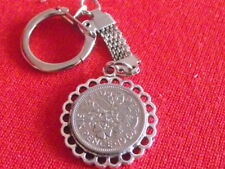 Lucky Sixpence Snake Pendant Keyring Any Year £2.99 Birthday Best Man Groom