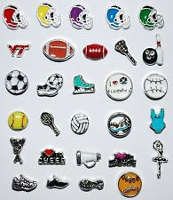 Floating Charms Sports Football Memory Lockets Living Story Baseball Dance Golf