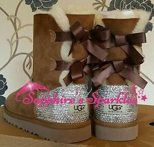 Adult Beige Chestnut Bailey Bow Ugg Boots Sizes 3 4 5 6 7 8