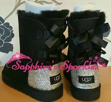 Adult Black Bailey Bow Ugg Boots Sizes 3 4 5 6 7 8