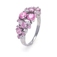 925 sterling silver rhodium plated different size stone pink/clear CZ ring