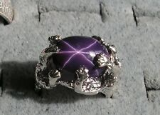 UNISEX 16X12MM 12+CT LINDE LINDY BLACK CHERRY STAR SAPPHIRE CREATED 2ND RING SS