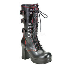DEMONIA GOTHIKA 101 Ladies  BLACK Red  BOOTS Lace Up Rear Buckle Block Hell