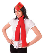 Fancy Dress Instant Air Hostess Set Red Flight Attendant Hat Scarf Neck Tie