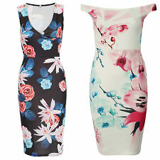 NEW LADIES WOMEN CELEBRITY INSPIRED OFF THE SHOULDER FLORAL BODYCON MIDI DRESS