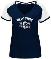 New York Yankees MLB Majestic Her Future Navy Blue T Shirt Plus Sizes