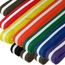 New Taekwondo Belt Karate Judo Jiu jitsu Martial Arts Color Belt w/ WHITE Stripe